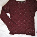dark red openwork jumper