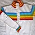 white and colourful striped jacket